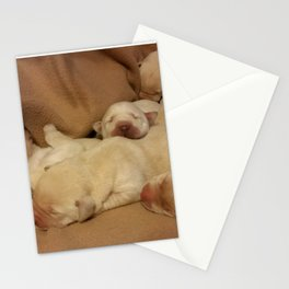 The Huddle with yellow lab puppies Stationery Cards