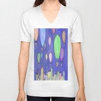 hot air balloons V-neck T-shirts featuring hot air balloons by Kaylabeaisaflea