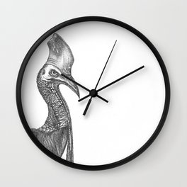 hand-drawn cassowary with liners on a white background. realistic Bird, perfect print black on white Wall Clock