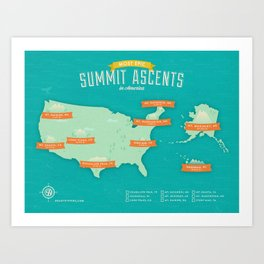 Most Epic Summit Ascents in America Art Print
