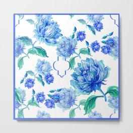 Blue Watercolor Floral Metal Print