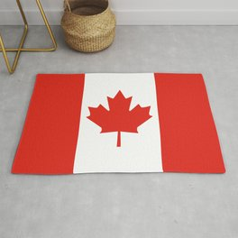 Red and White Canadian Flag Rug