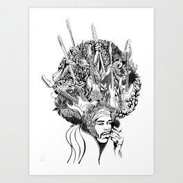 Handdrawn psychedelic Jimi Hendrix black and white portrait illustration Art Print