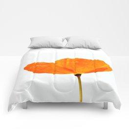 One And Only - Orange Poppy White Background #decor #society6#buyart Comforters