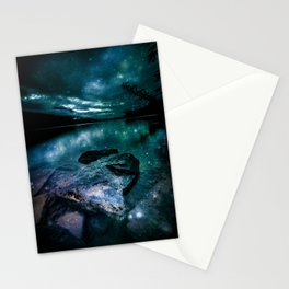 Magical Mountain Lake Dark Teal Stationery Cards