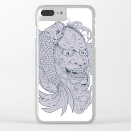 Hannya Mask and Koi Fish Drawing Clear iPhone Case