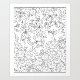 Hummingbirds and Flowers Coloring Page Art Print