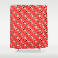 pugs Shower Curtains featuring Holiday Pugs by pugmom4