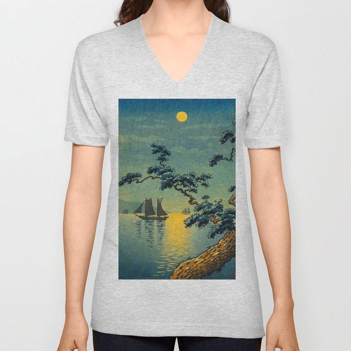 Tsuchiya Koitsu Maiko Seashore Japanese Woodblock Print Night Time Moon Over Ocean Sailboat Unisex V-Neck