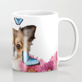 Chihauhau Dog with blue Morph Butterfloies and Gerbera Flowers Coffee Mug