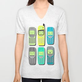 Vintage Cellphone Pattern Unisex V-Neck