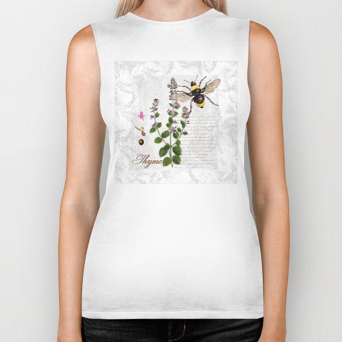 Cottage Style Thyme, Bumble Bee, Hummingbird, Herbal Botanical Illustration Biker Tank