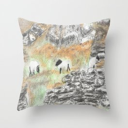 Sheep by the Wall Throw Pillow