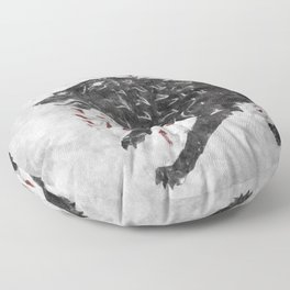 Grey wolf on the snow Floor Pillow