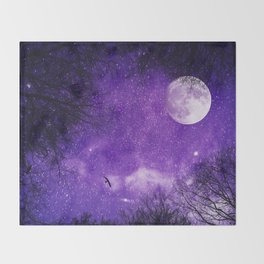 Nightscape in Ultra Violet Throw Blanket