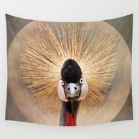 crane Wall Tapestries featuring Crested Crane  by Pauline Fowler ( Polly470 )