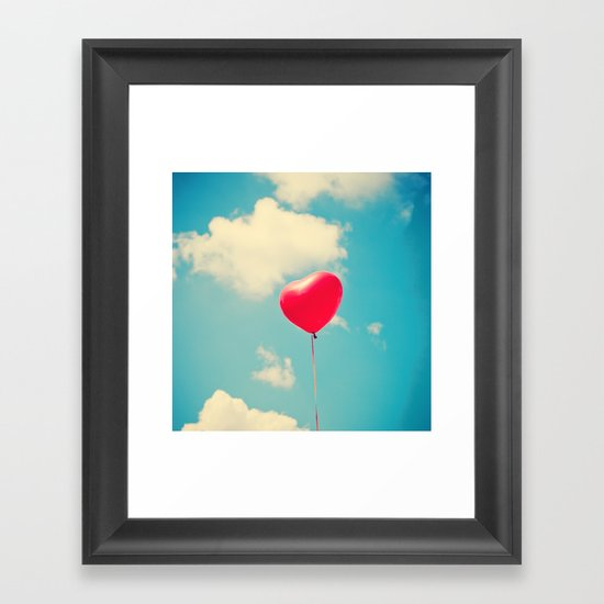 Love is in the air (Red Heart Balloon on a Retro Blue Sky) Framed Art Print