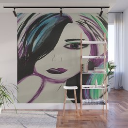 Colorful Girl. Abstract Girl Purple Green.Pop Art by Jodilynpaintings. Figurative Abstract Pop Art. Wall Mural