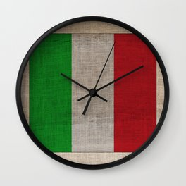 Vintage Italian Flag on Antique Burlap Texture Wall Clock