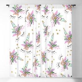 Modern cute whimsical floral unicorn pattern illustration gold glitter polka dots Blackout Curtain