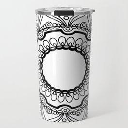 Black and White Mandala Drawing Travel Mug