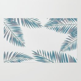 Watercolor tropical palm leaves blue Rug