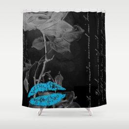 Blue Elegant Lips Shower Curtain