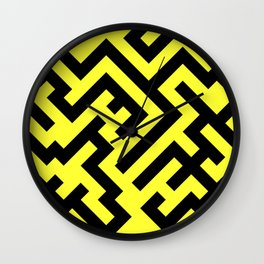 Black and Electric Yellow Diagonal Labyrinth Wall Clock