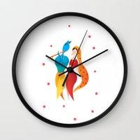 hindu Wall Clocks featuring Radha Krishna Hindu god of Love by IDigType