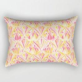 Art Deco Pattern in Pink and Orange Rectangular Pillow