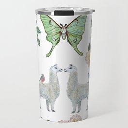 Llama and Luna Moth Travel Mug