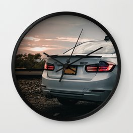 White Sports Car in the Shadows (5 of 6) Wall Clock
