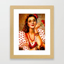 Mexican Sevillana Calendar Girl by Jesus Helguera Framed Art Print