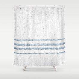 Vintage Farmhouse Grain Sack Soft Blue Stripes  Shower Curtain