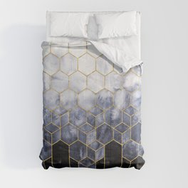 Cubes of Gold - Indigo Nights Comforters