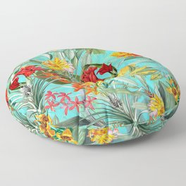 Vintage & Shabby Chic - Colorful Tropical Blue Garden Floor Pillow