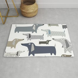 Wiener Dog Pattern Rug