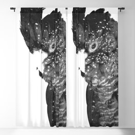 Black and White Cockatoo Illustration Blackout Curtain