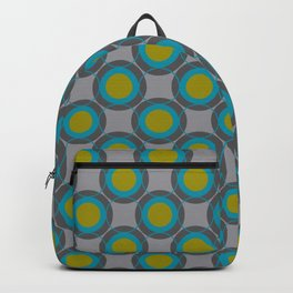 Contemporary Circles Retro Design Turquoise Gray Chartreuse Backpack