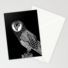 Tangled Barn Owl on Black Stationery Cards