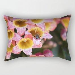 Tangerine Beauty Cross Vine with a Bumblebee Rectangular Pillow