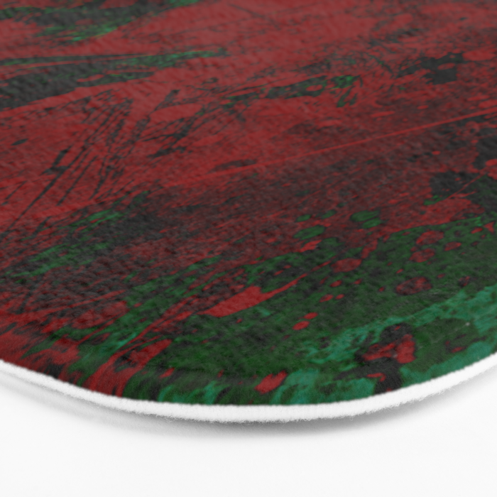 Roses Are Red - Abstract, red and cyan painting Bath Mat