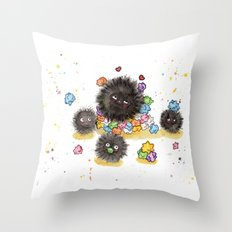 Hungry Soot Sprites  Throw Pillow