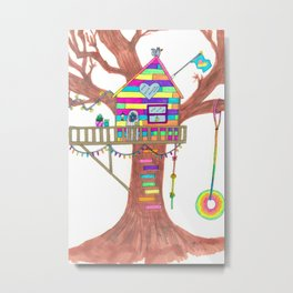 Magical Rainbow Treehouse for Girls Metal Print