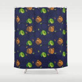 Citric Fruits vNavy Shower Curtain