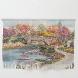 Autumn in Central Park, Manhattan, New York City. A watercolor painting. Wall Hanging