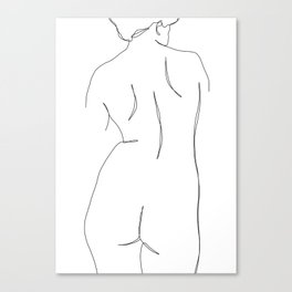 Nude womans back line drawing - Faith Canvas Print
