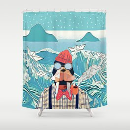 Walrus and the paper boats Shower Curtain
