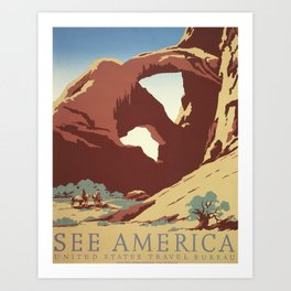 Arches National Park Vintage Travel and Tourism Poster, 1939 Art Print