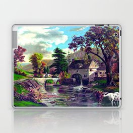 The Old Mill At The Creek Vintage Art Laptop & iPad Skin